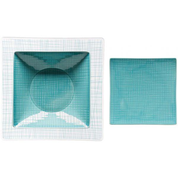 Servizio 18 piatti verde acqua mesh
