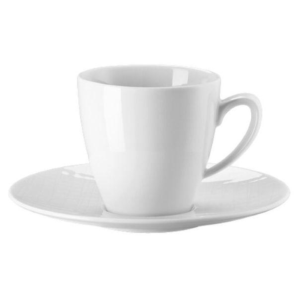 Set 6 tazze caffè con piattino bianche mesh