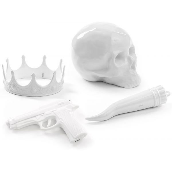 Set corona, pistola, teschio e cornetto memorabilia