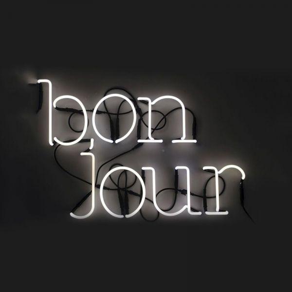 lettere scritta bonjour con trasformatore Neon Art