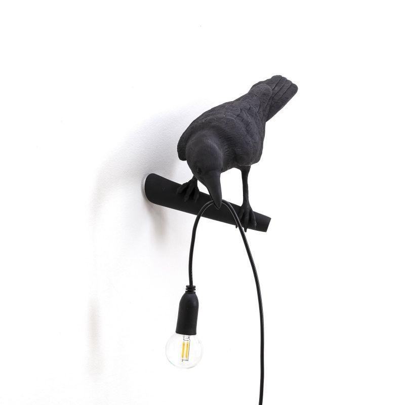 Lampada da muro nera uccello bird lamp