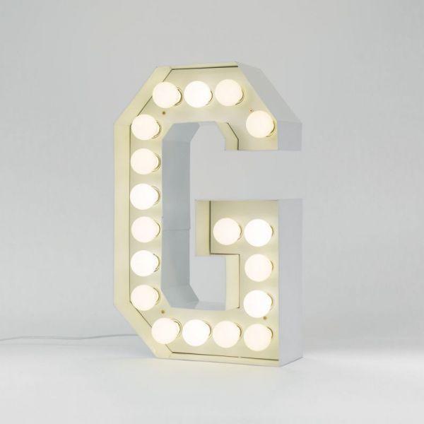 Lettera G luminosa in metallo Vegaz