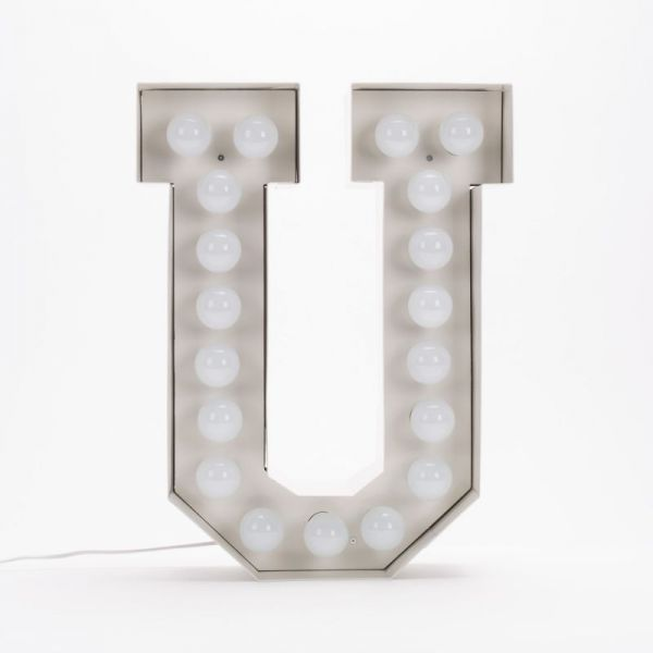 Lettera U luminosa in metallo Vegaz