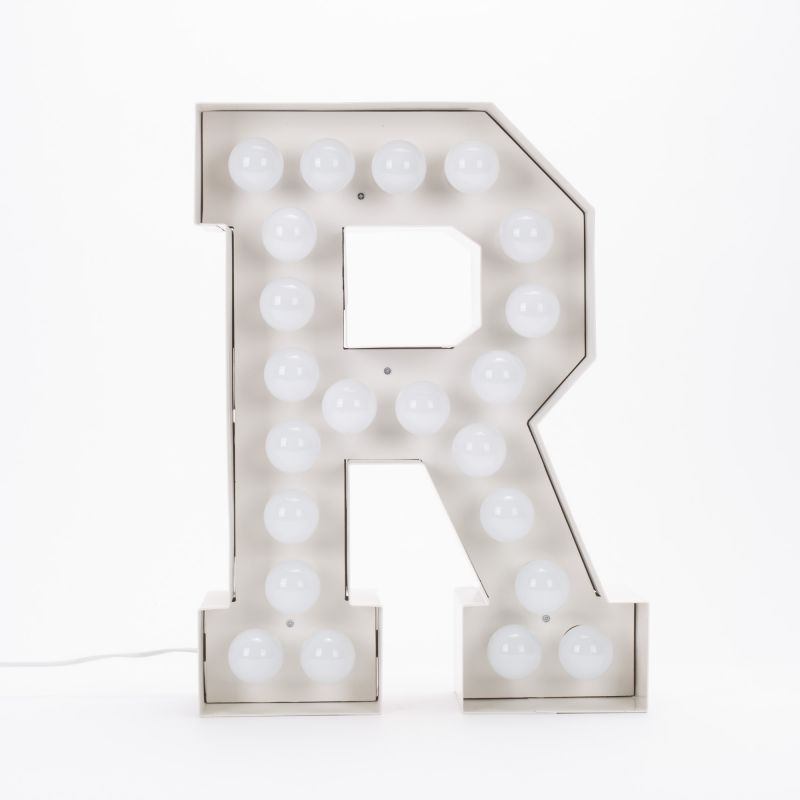 Lettera R luminosa in metallo Vegaz