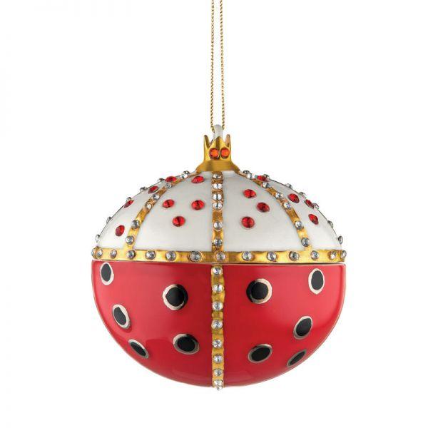 Palla albero di Natale in porcellana re coccinello