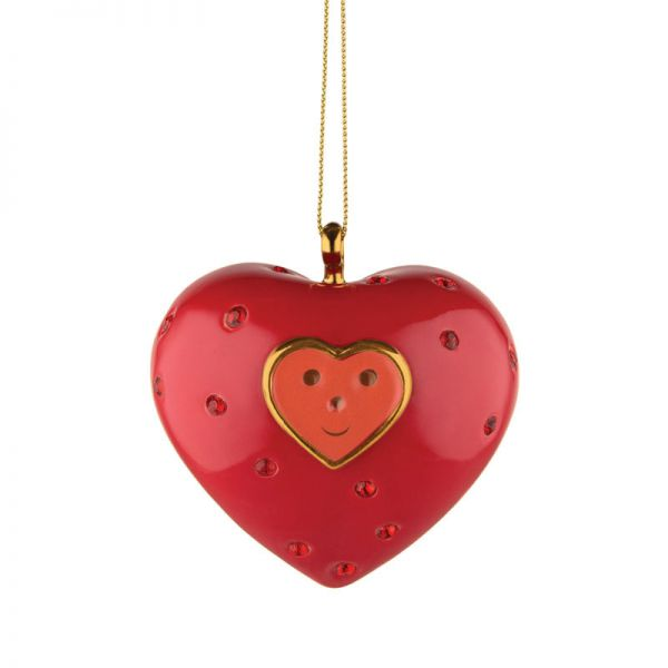 Palla albero di Natale in porcellana cuore
