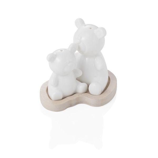 Bomboniera sale e pepe in porcellana e bamboo orsetto