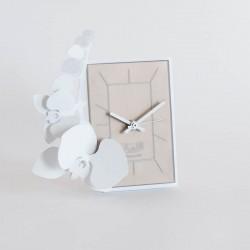 orologio da tavolo orchidea bianco