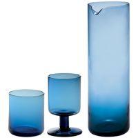 Set 12 bicchieri blu con caraffa Bloom