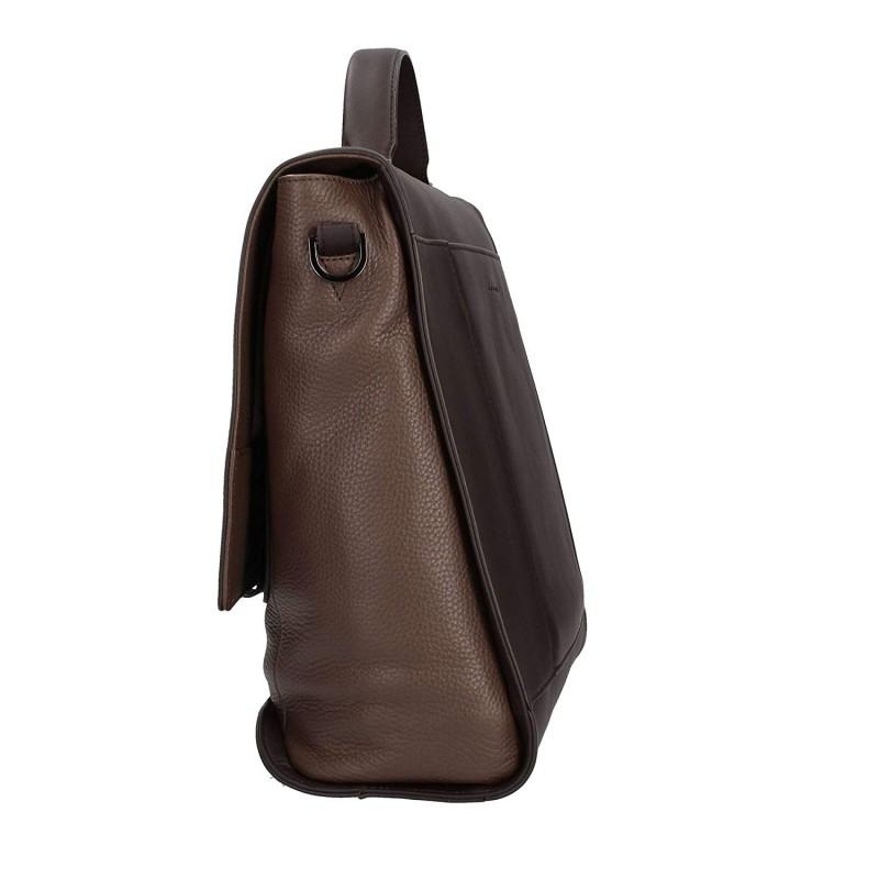 cartella in pelle con patta bicolore marrone