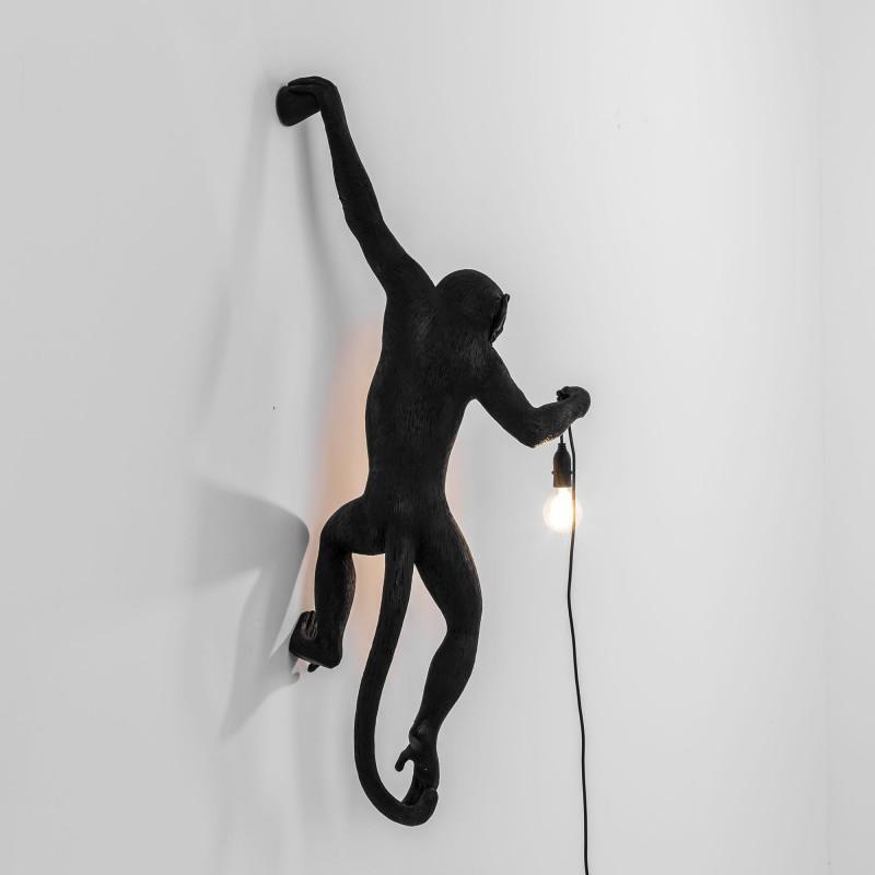 Lampada da muro mano sinistra da esterno nera monkey lamp