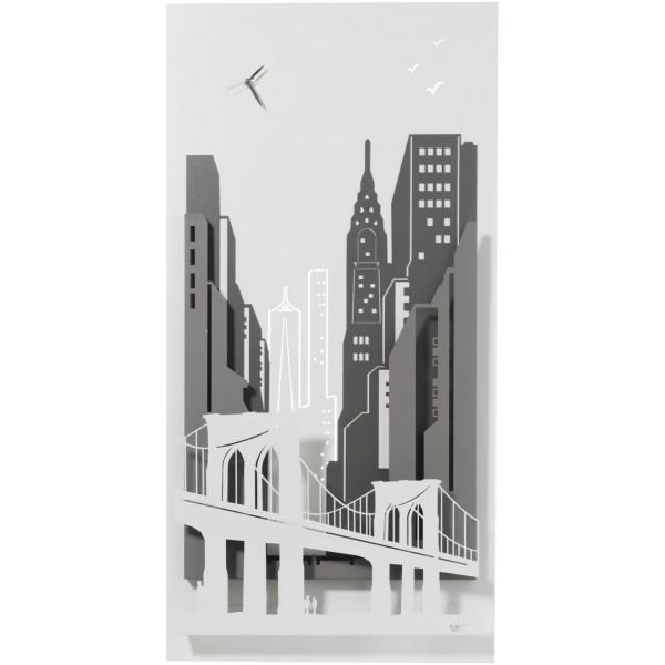 Pannello orologio New York grigio