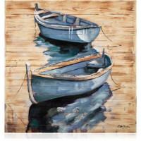 quadro in legno con foglia argento barche