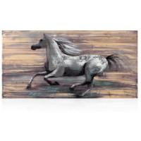 quadro in legno con foglia argento cavalli