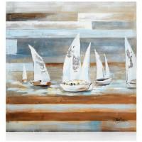 quadro in legno con foglia oro barche