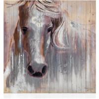 quadro in legno con foglia argento cavallo bianco