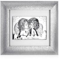 Quadro in argento e Swarovski due angeli