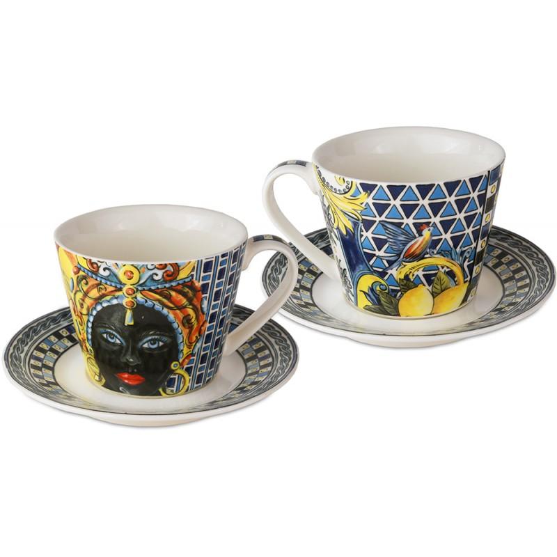 Bomboniera set 2 tazzine caffe blu sicily