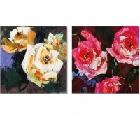 Set 2 quadri dark roses 40cm