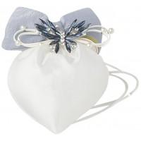 sacchetto cuore avorio 14x17cm fiocco