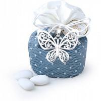 secchiello blu 10cm farfalla metallo