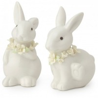 set 2 conigli in porcellana 10cm bianchi