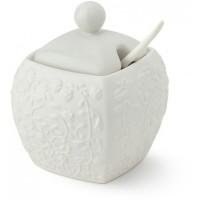zuccheriera square in porcellana bianca 9x9x11cm