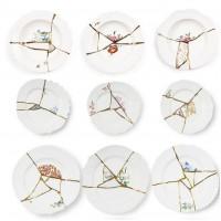 Servizio 6 piatti in porcellana e oro 24 carati Kintsugi
