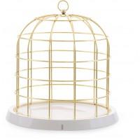 gabbia in metallo dorato e porcellana Twitable