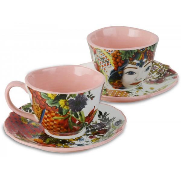 set 2 tazzine caffe porcellana rosse