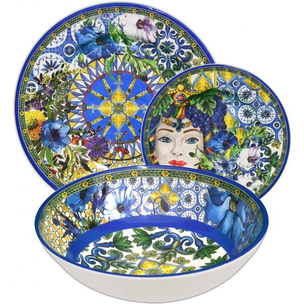 Set 18 piatti in melamina blu