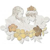 capezzale su pannello intagliato sacra famiglia fiori 112x88cm