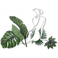 pannello intagliato decorativo donne e foglie 142x102cm