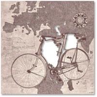 quadro su pannello intagliato bicicletta 48x48cm