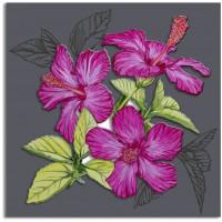 quadro su pannello intagliato fiori 90x90cm