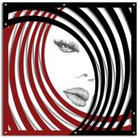 quadro su pannello intagliato volto donna 90x90cm