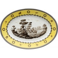 Vassoio ovale piano Antico Doccia paesaggi citrino
