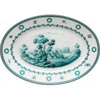 Vassoio ovale piano Antico Doccia paesaggi ottanio