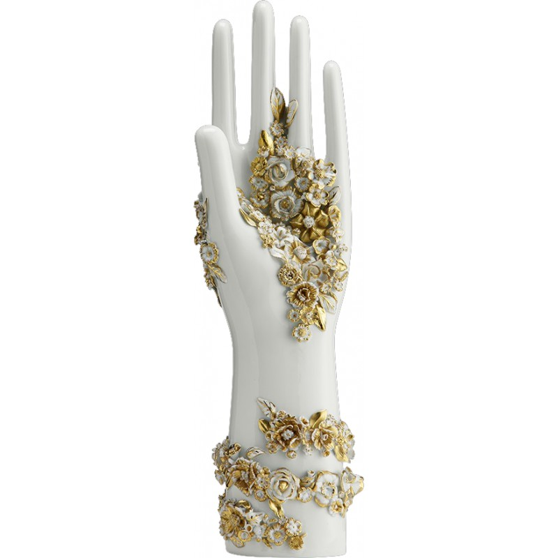 Mano Fiorita fiori oro su porcellana bianca Richard Ginori ...