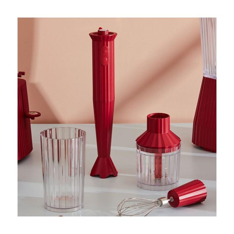 frullatore immersione con accessori rosso Plissè