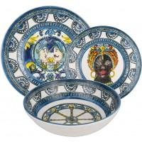 Servizio 18 piatti blu Sicily