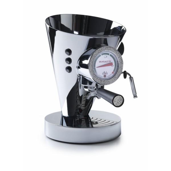macchina da caffè diva cromata con quadrante e impugnatura swarovski