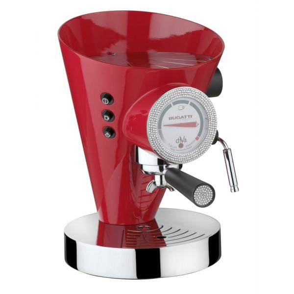 macchina da caffè diva rossa con quadrante e impugnatura swarovski