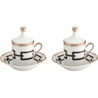 Set 2 tazze caffè con piattino e coperchio Catene