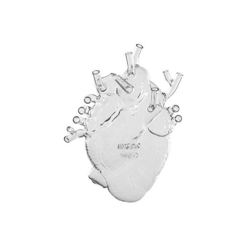Vaso cuore in vetro love in bloom glass