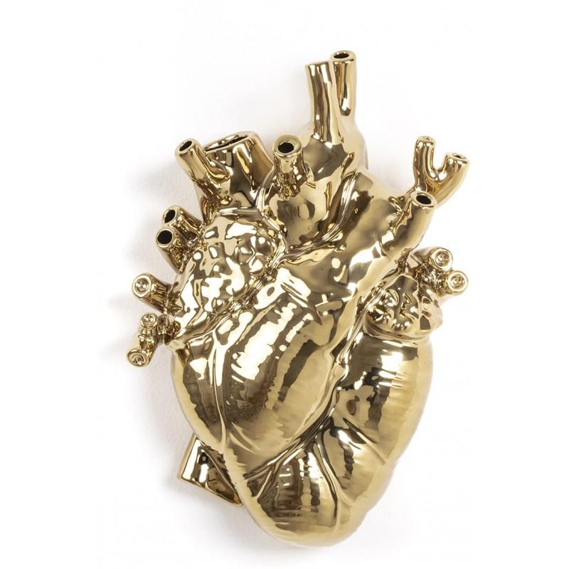 Vaso cuore oro love in bloom