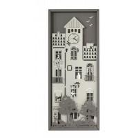 Decorazione da parete con orologio piccolo borgo