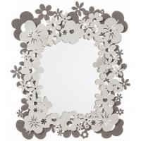 Specchio con cornice di fiori Daisy fango avorio 84cm