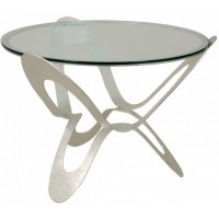 Tavolo contemporaneo Ninfa argento 65cm