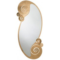 Specchio in ferro con riccioli Circeo oro 130cm